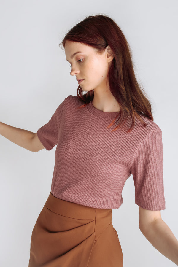 Classic Knitted Top In Pink