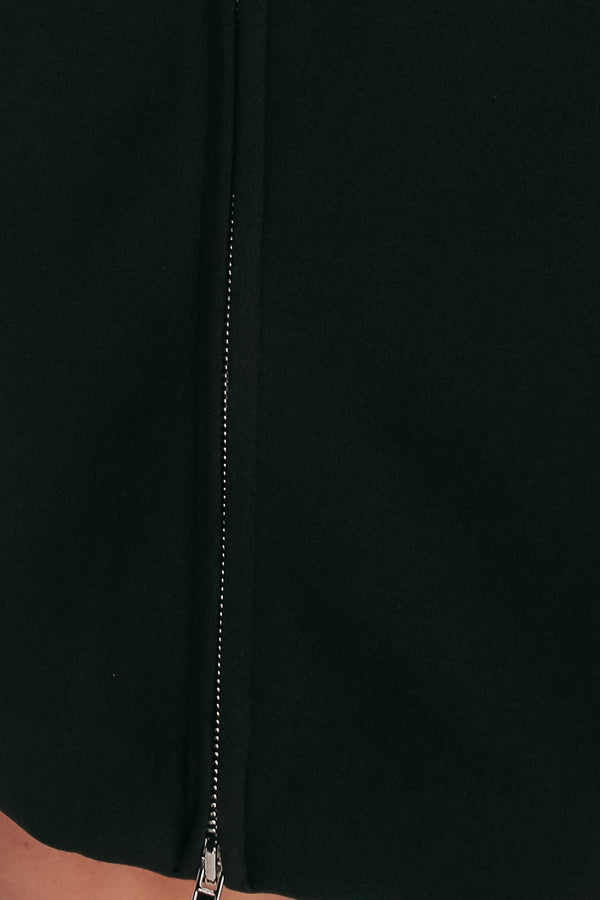 Zip Up Pencil Skirt In Jet Black