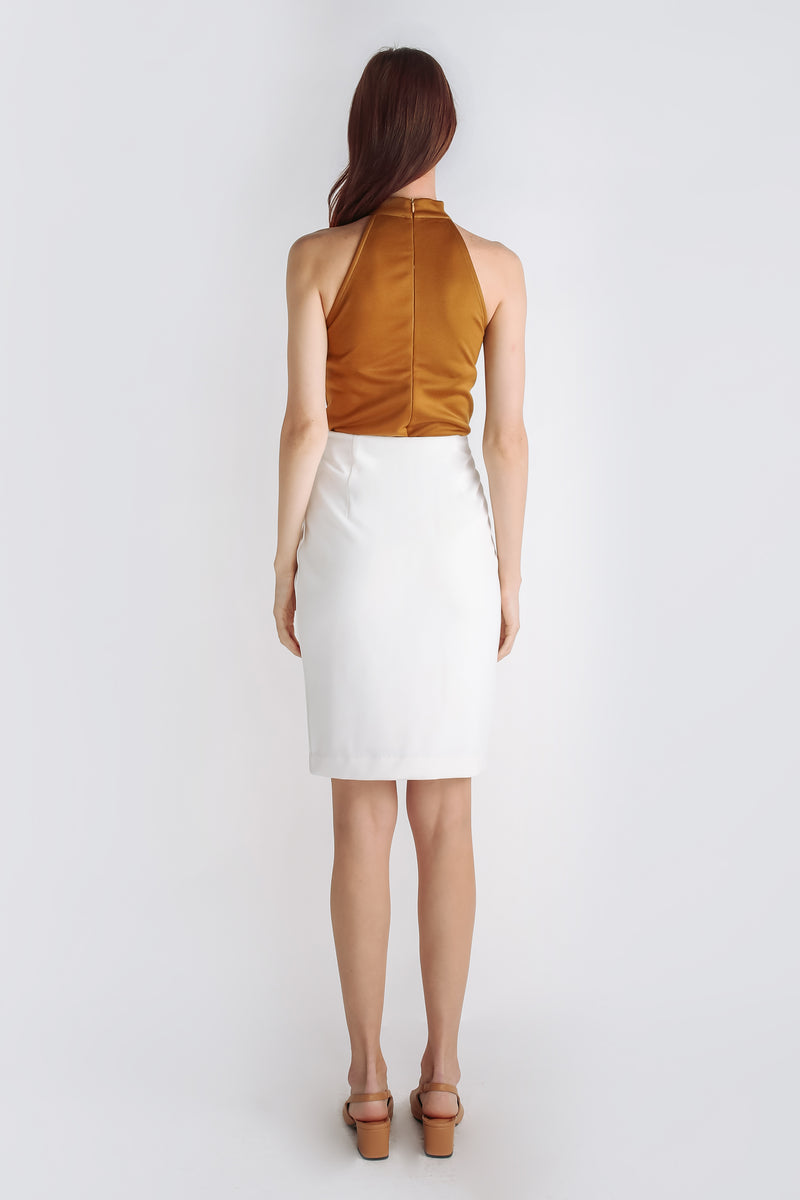 Zip Up Pencil Skirt In White