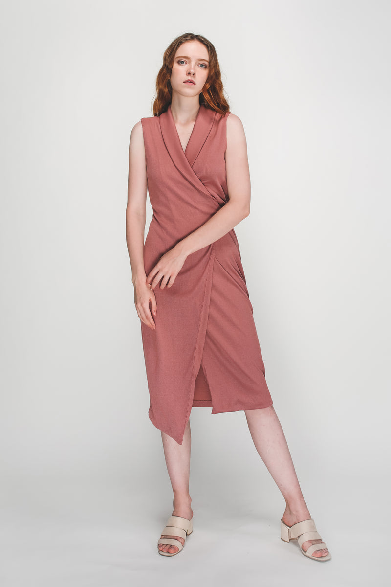 V-Neck Lapel Knitted Wrap Dress In Pink