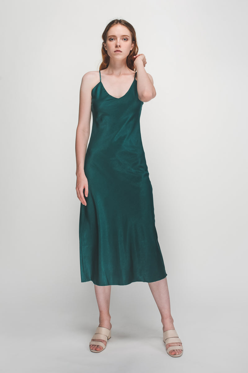 V-Neck Flare Hem Slip Dress In Teal