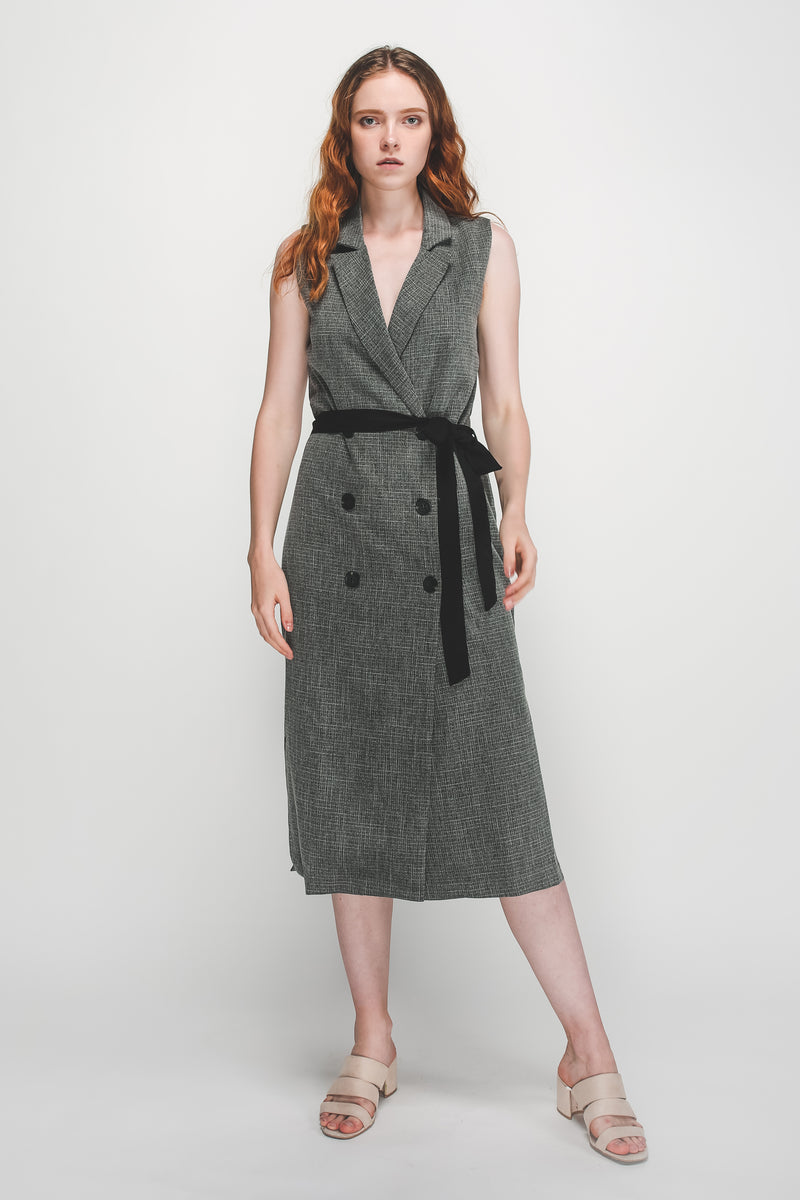 V-Neck Lapel Vest Dress In Grey
