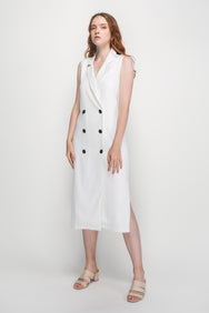 V-Neck Lapel Vest Dress In White