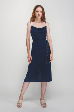 Drape Detail Neckline Knitted Dress In Blue