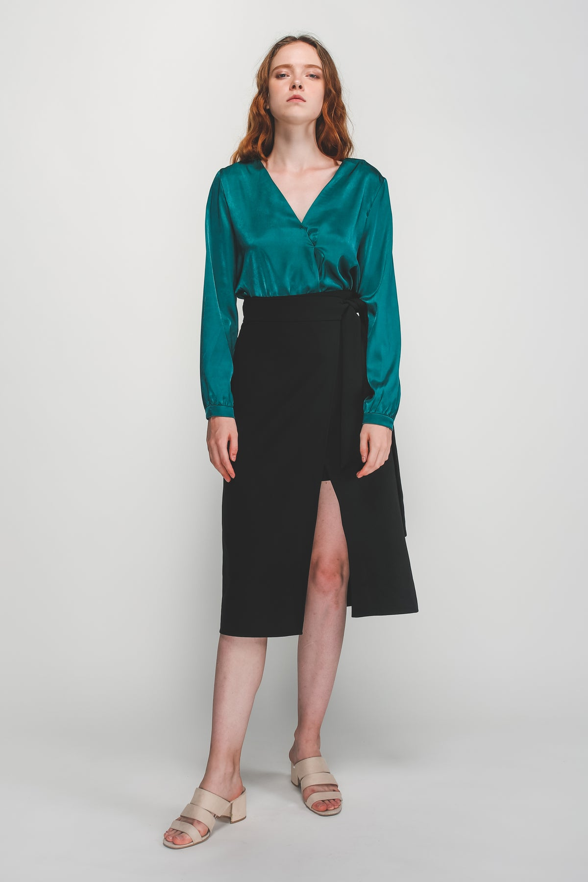 Classic V-Neck Blouse In Teal Sheen