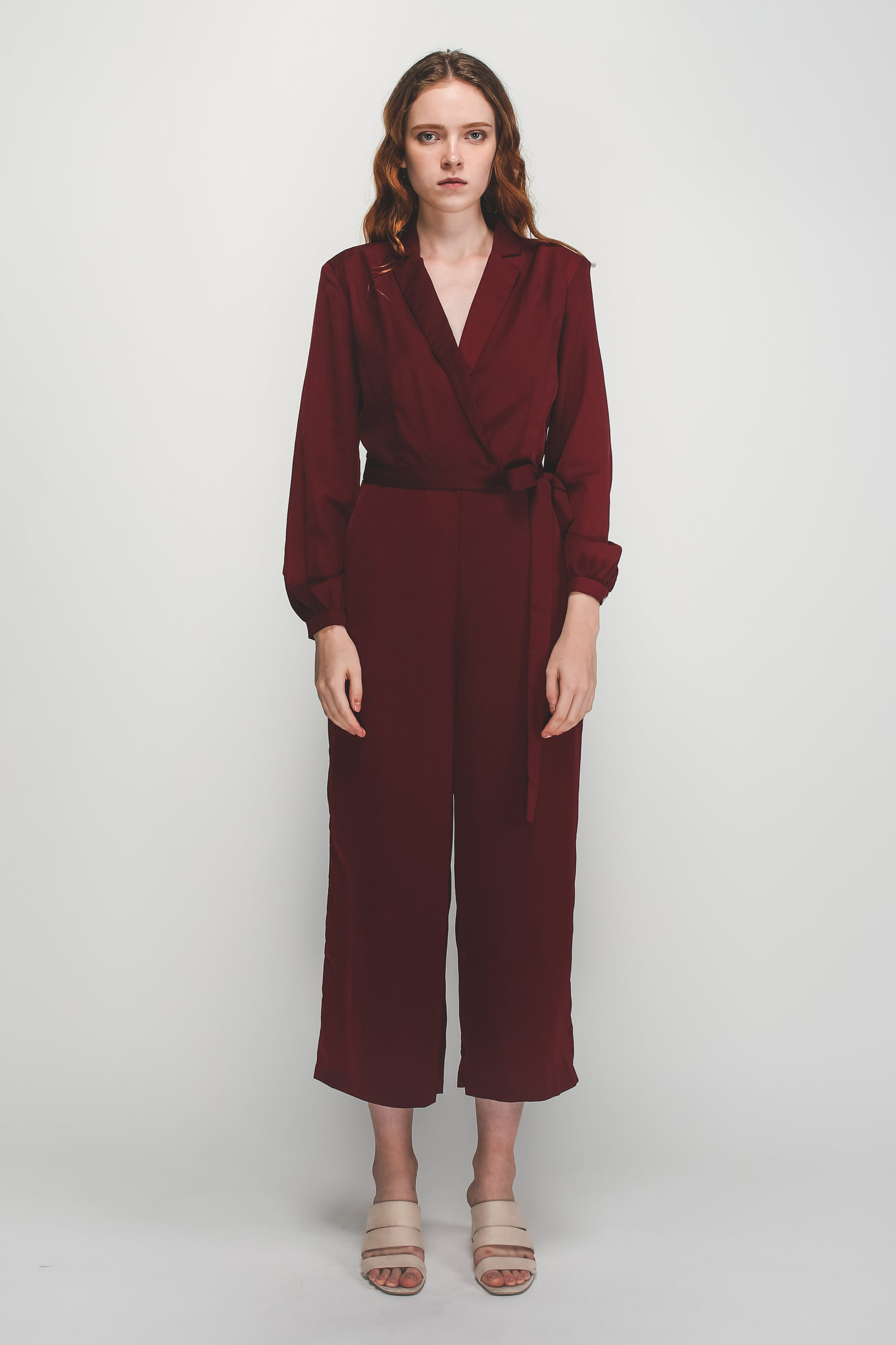 V-Neck Lapel Belted Wide Legged Jumpsuit In Maroon