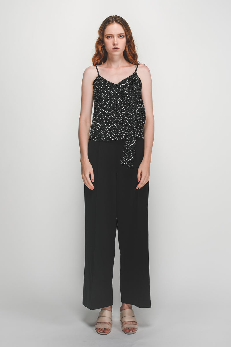Tie Wrap Detail Camisole In Black Polka Dot