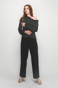 Asymmetrical Off Shoulder Ruffle Top In Black Polka Dot