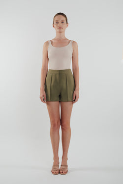 High Waisted Foldlines Shorts in Olive