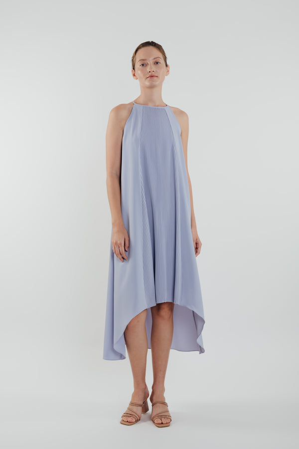 Pleated Halter Dress in Sky