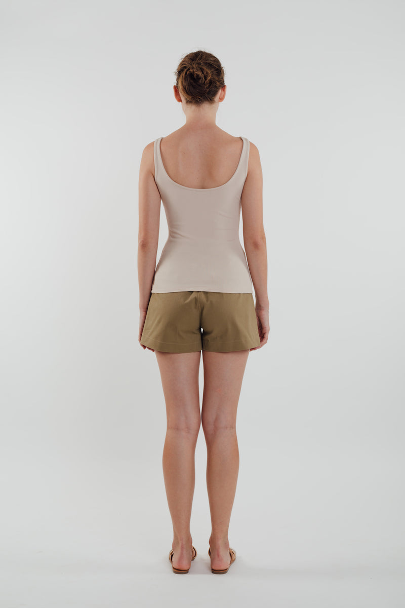 Round Neck Tank Top in Almond