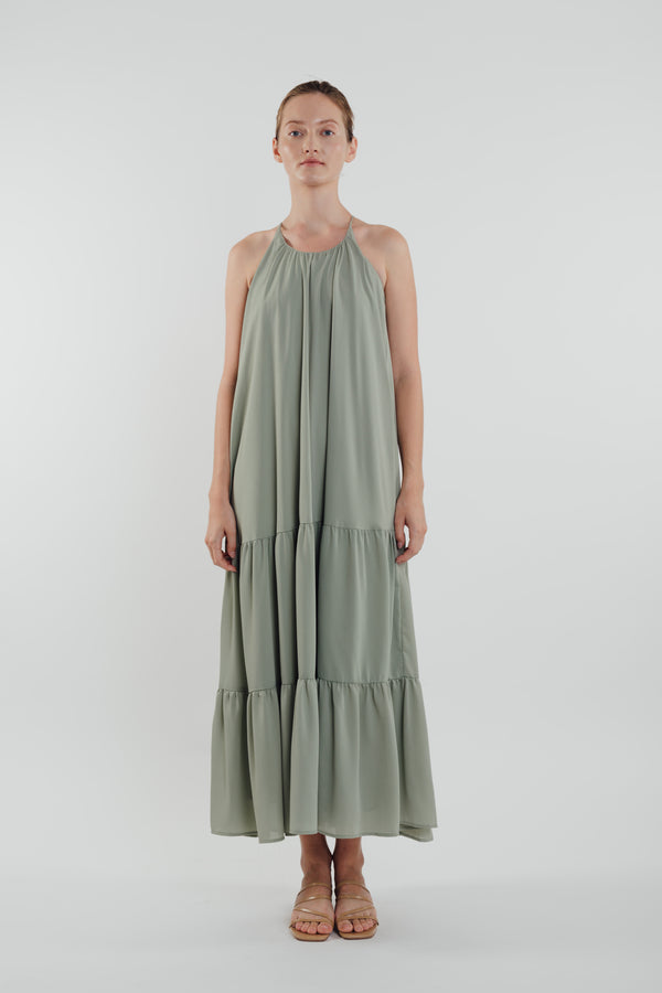 Tiered A-line Maxi Dress in Sage