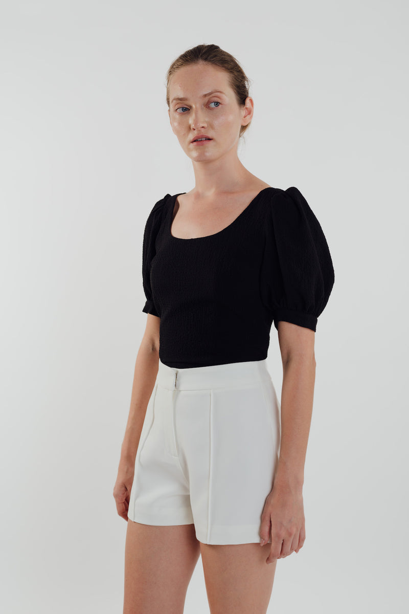 Puffed Sleeved Textured Top in Black