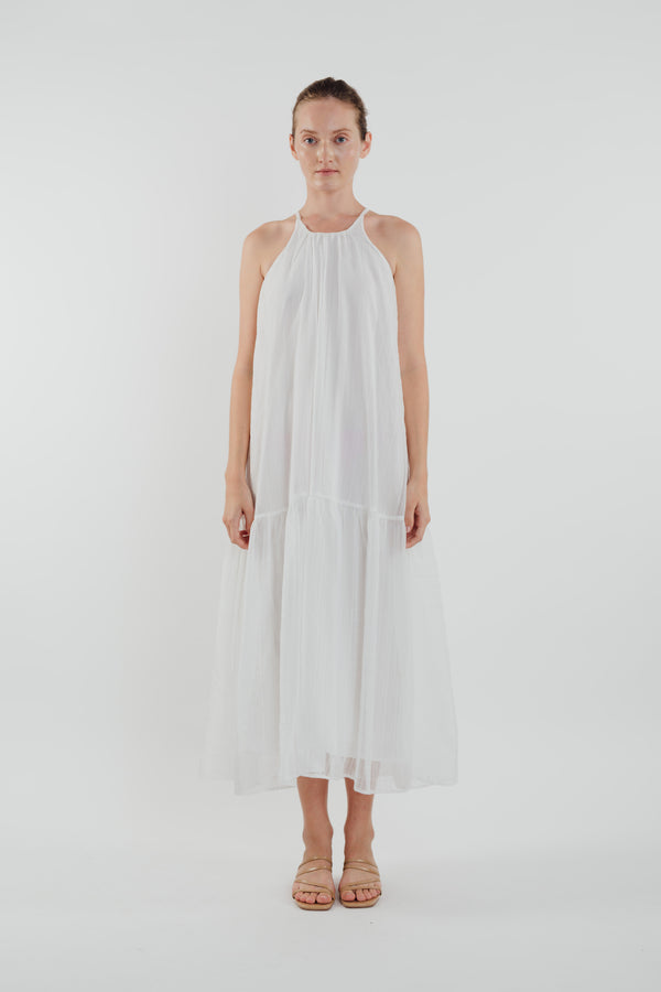 Chiffon Tiered Maxi Dress in White