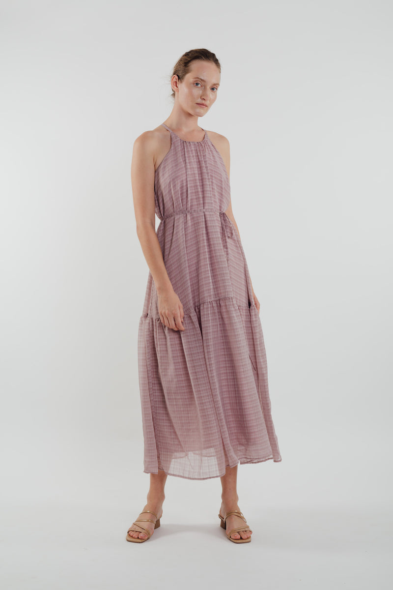 Chiffon Tiered Maxi Dress in Rose