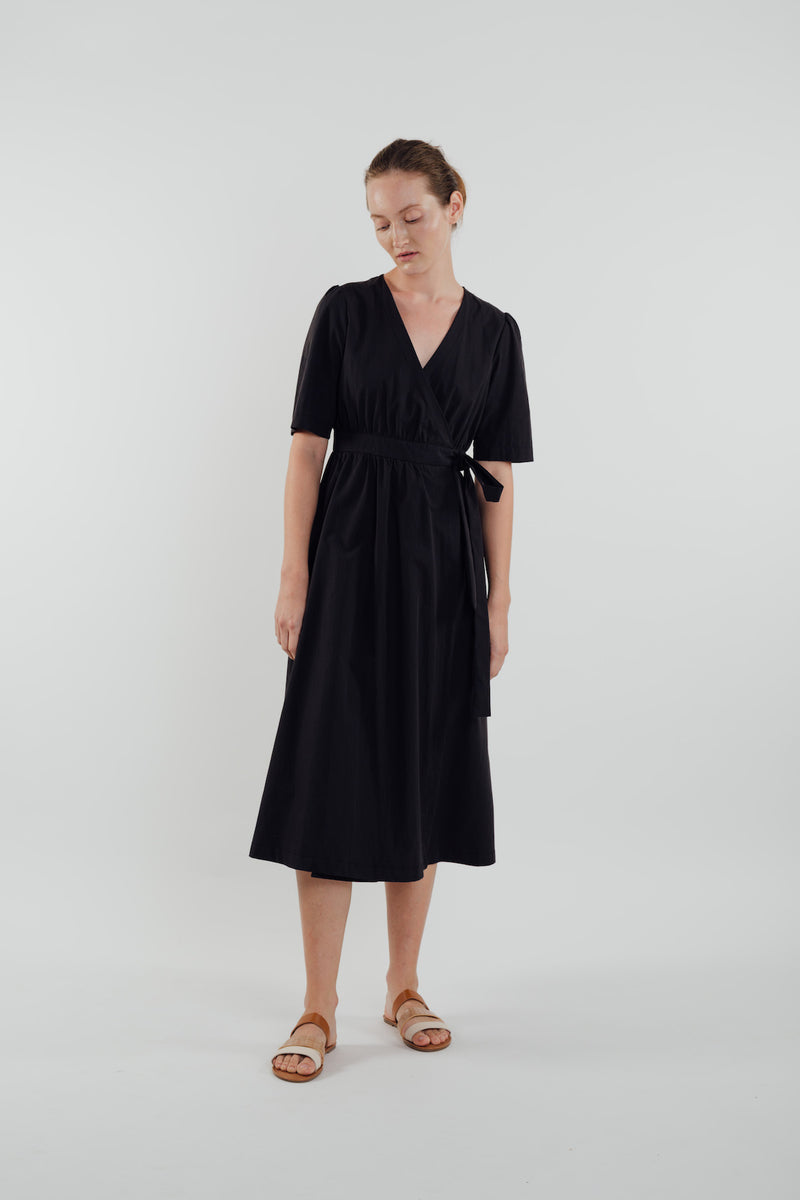 Cotton Midi Wrap Dress in Black