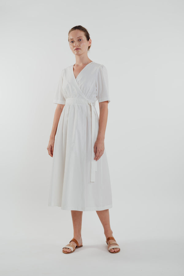 Cotton Midi Wrap Dress in White