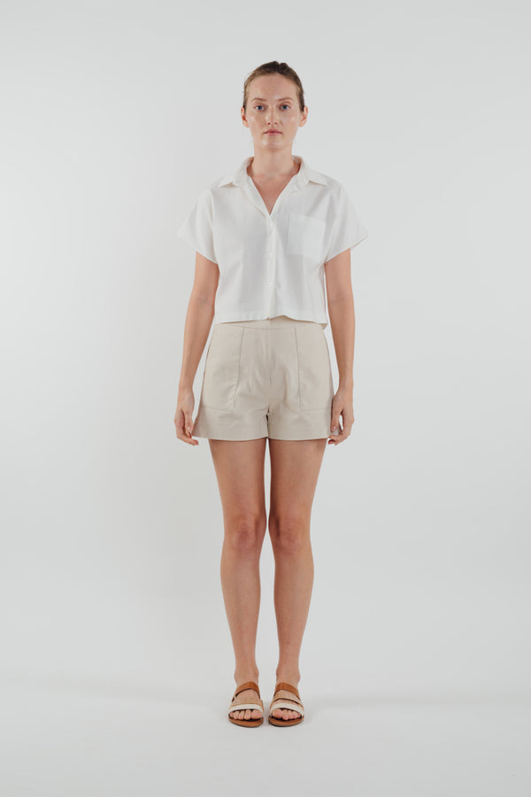 Linen Cropped Shirt in White