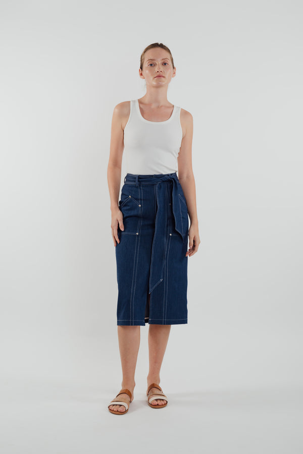 Denim Skirt in Navy