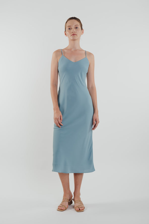 V Neck Slip Dress in Ocean