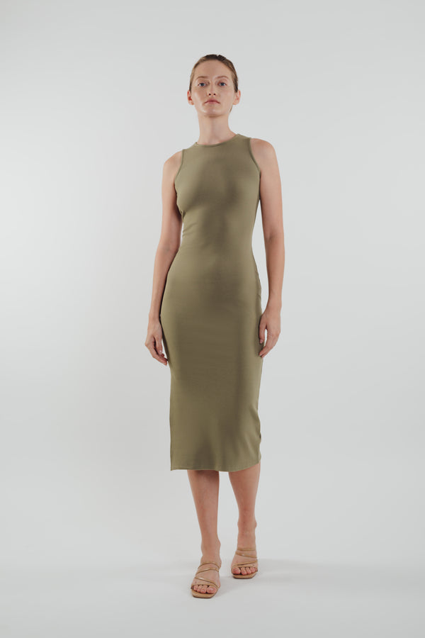 Knitted Dress in Olive