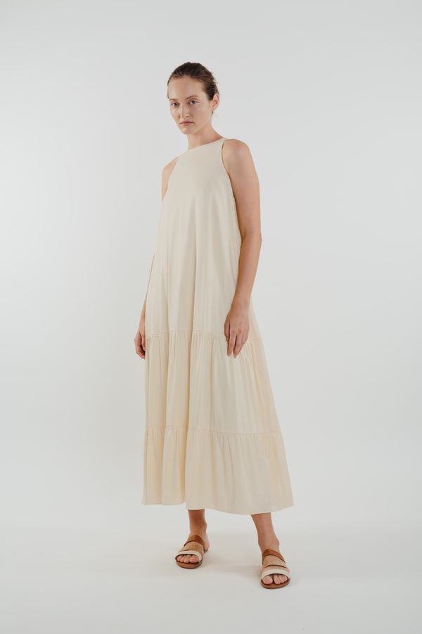 Cotton Blend Tiered Maxi Dress in Cream