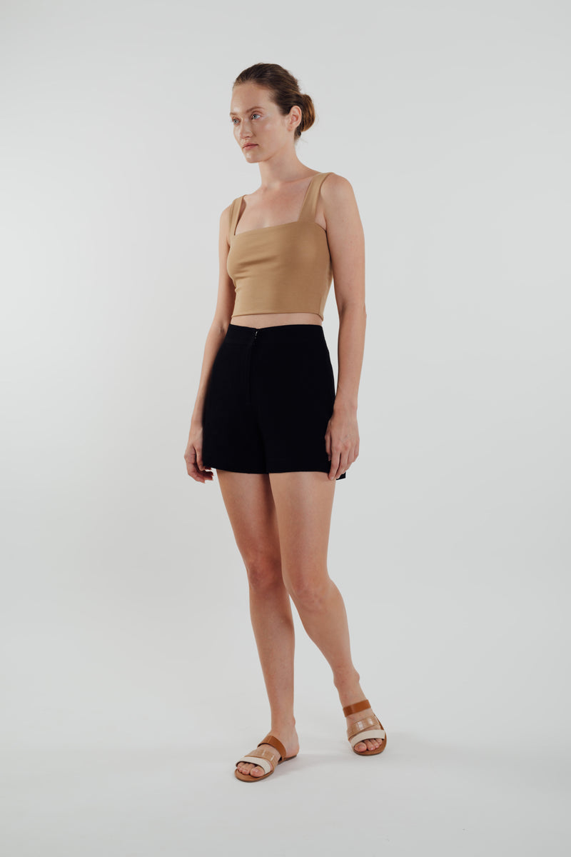 Classic Straight Neck Cropped Tank In Camel