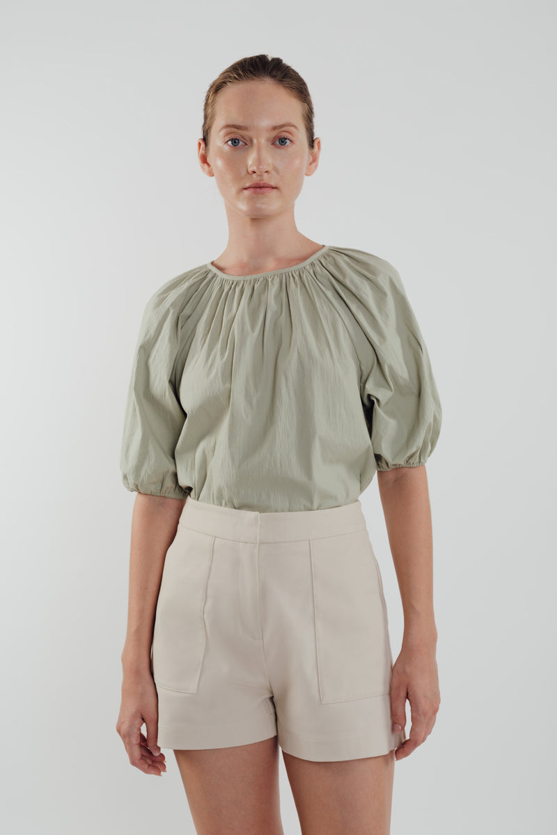Bubble Sleeve Top in Sage