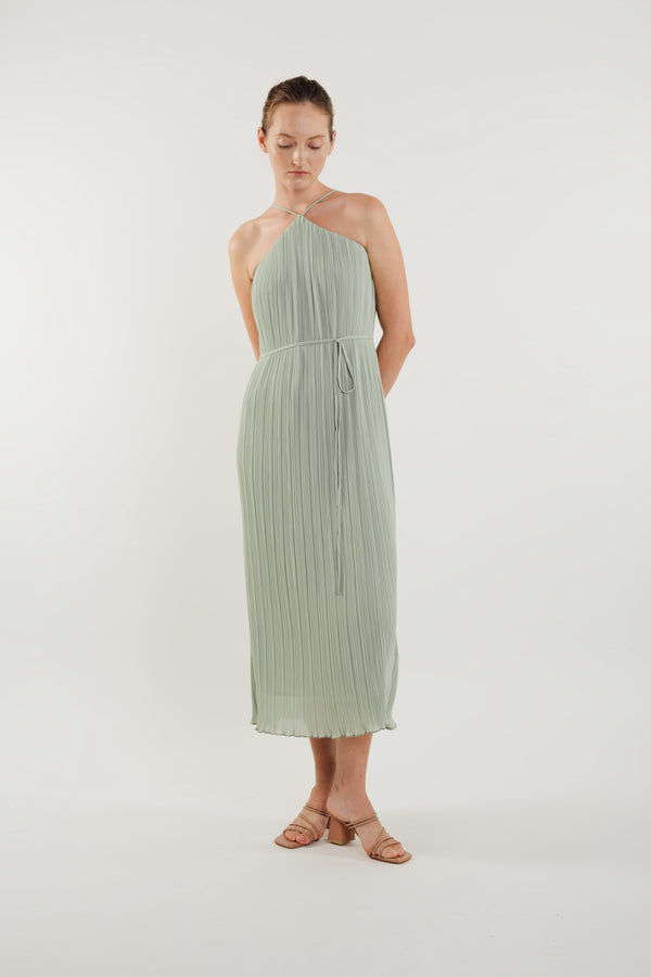 Halter Pleated Maxi Dress in Sage