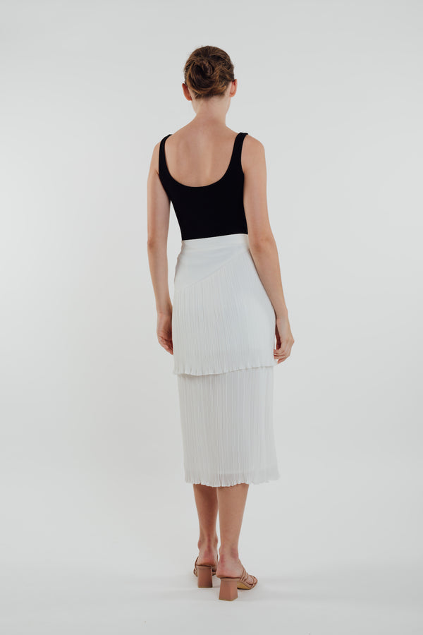 Layered Midi Pleated Skirt in White