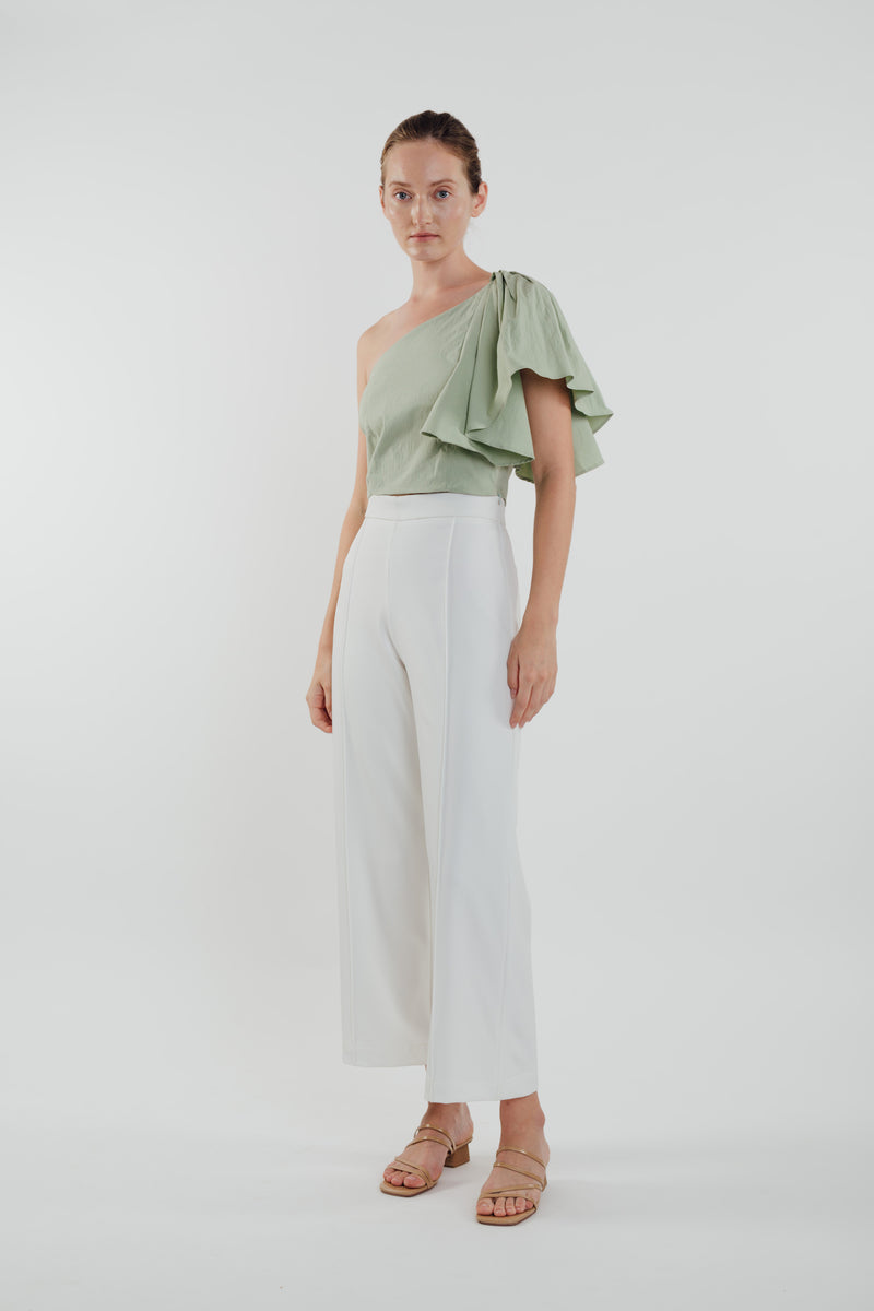Toga Top with Frilled Sleeve in Sage