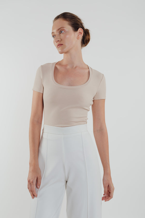 Round Neck Knit Top in Almond