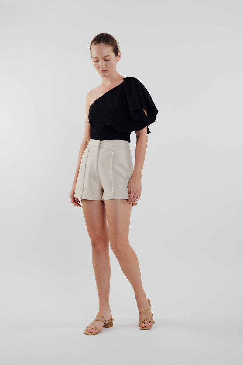 Toga Top with Frilled Sleeve in Black