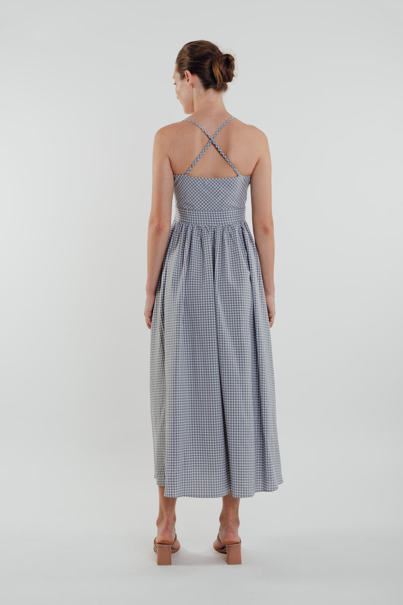 Gingham Maxi Dress in Sky