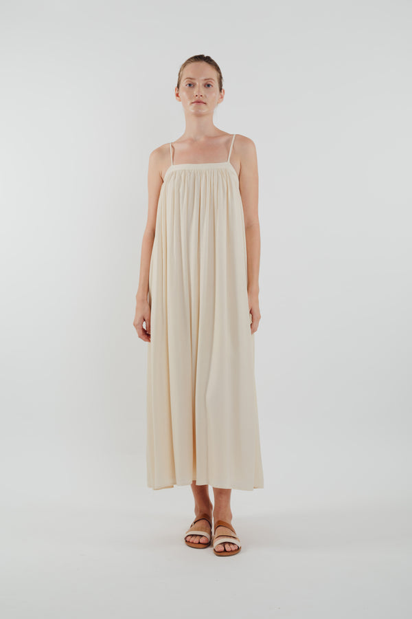 Gathered Midi Dress in Ecru