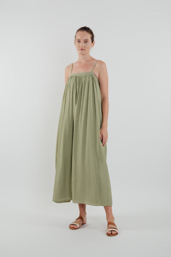 Gathered Midi Dress in Sage