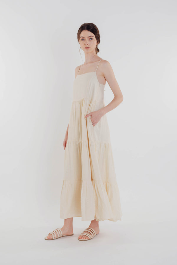 Tencel Tiered Maxi Dress in Soft Yellow