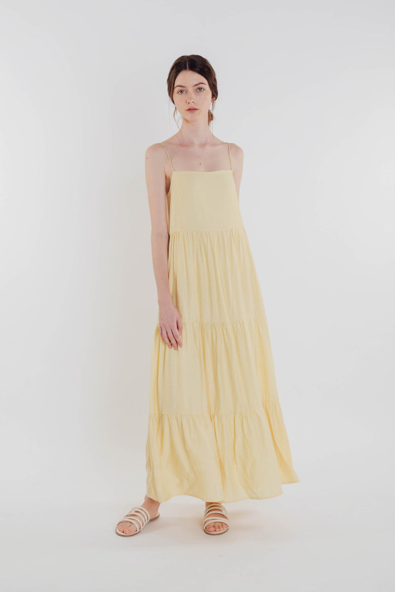 Tencel Tiered Maxi Dress in Yellow