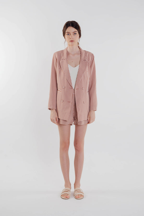 Gingham Blazer in Rose