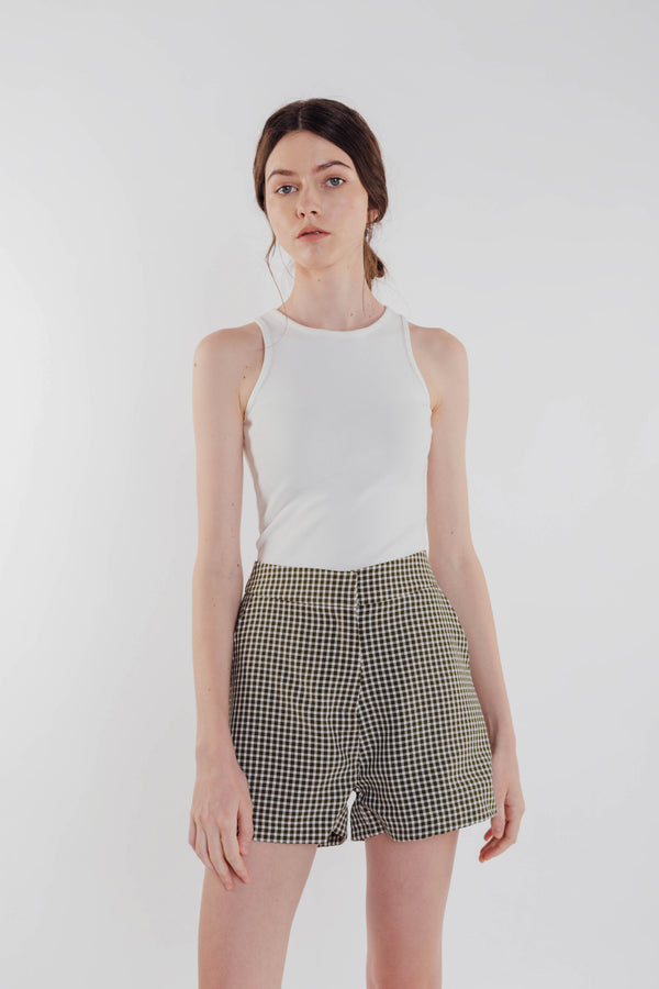 Gingham Shorts in Olive