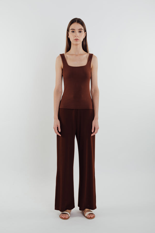 Square Neck Knit Tank in Soil