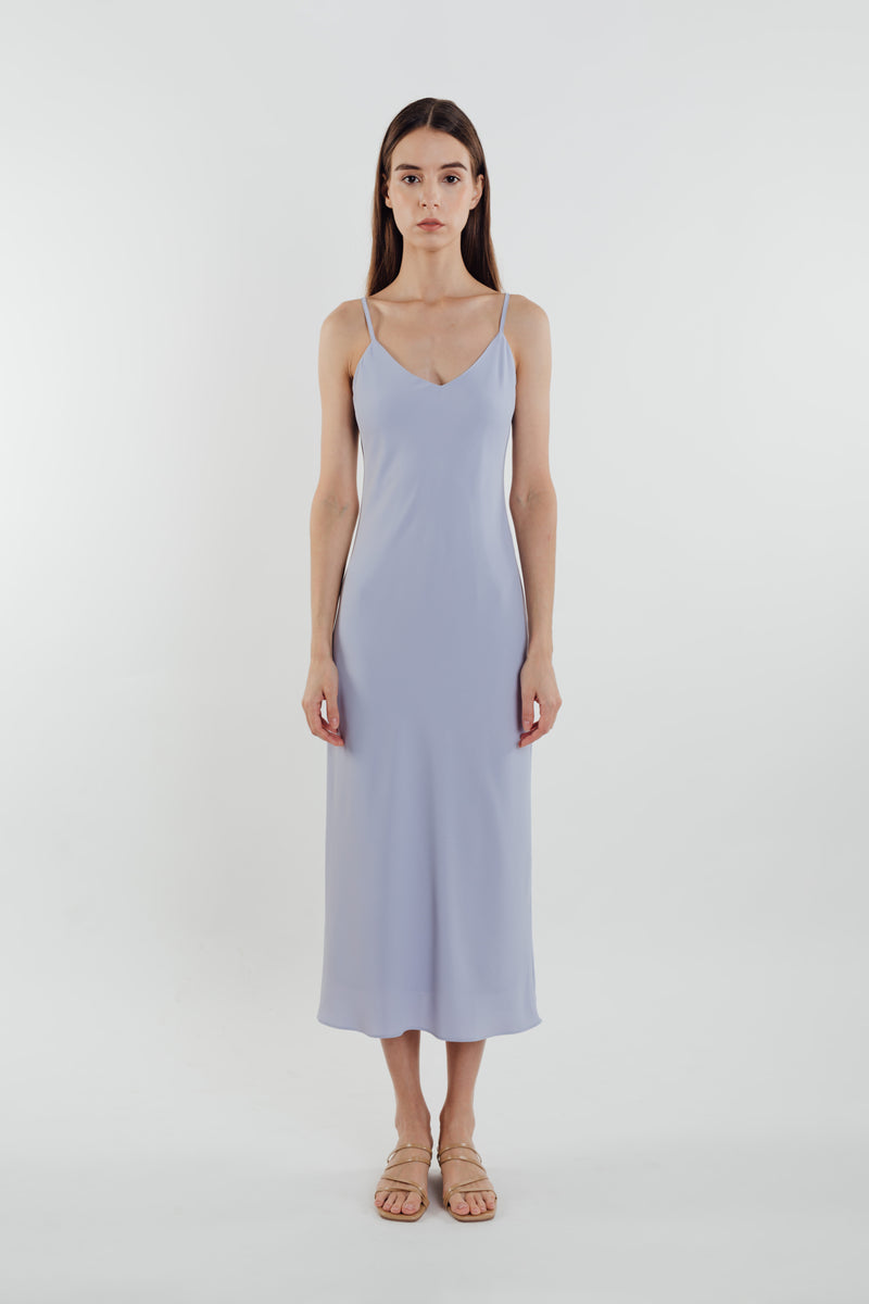 V Neck Slip Dress in Sky
