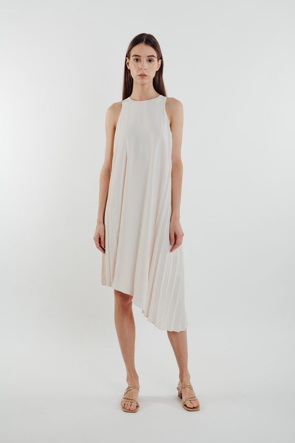 Asymmetric Pleated Dress in Pearl