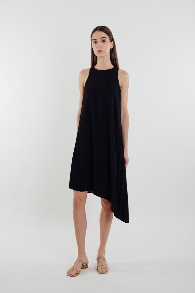 Asymmetric Pleated Dress in Black