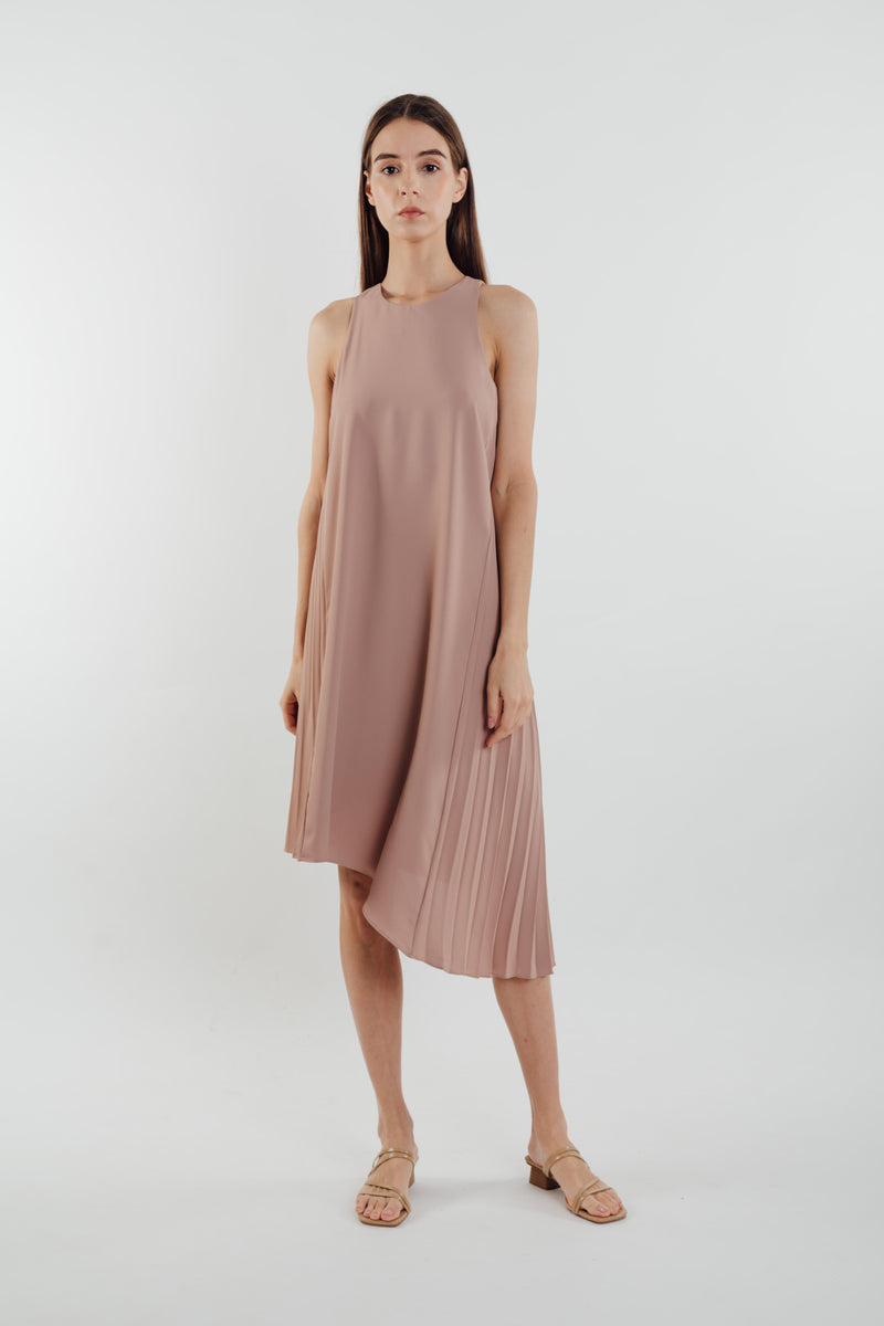 Asymmetric Pleated Dress in Muted Rose