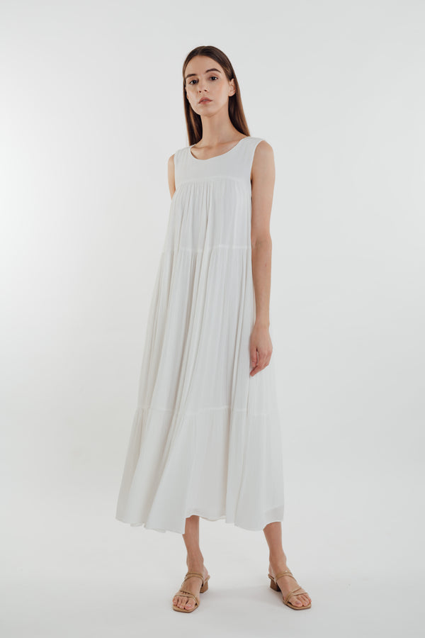 Tiered Textured Crepe Maxi Dress in White