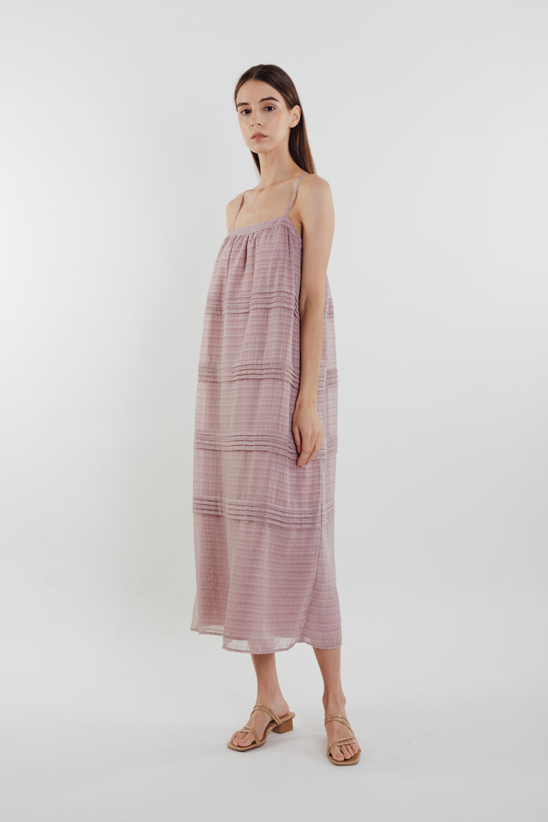 Panelled Midi Dress in Rose