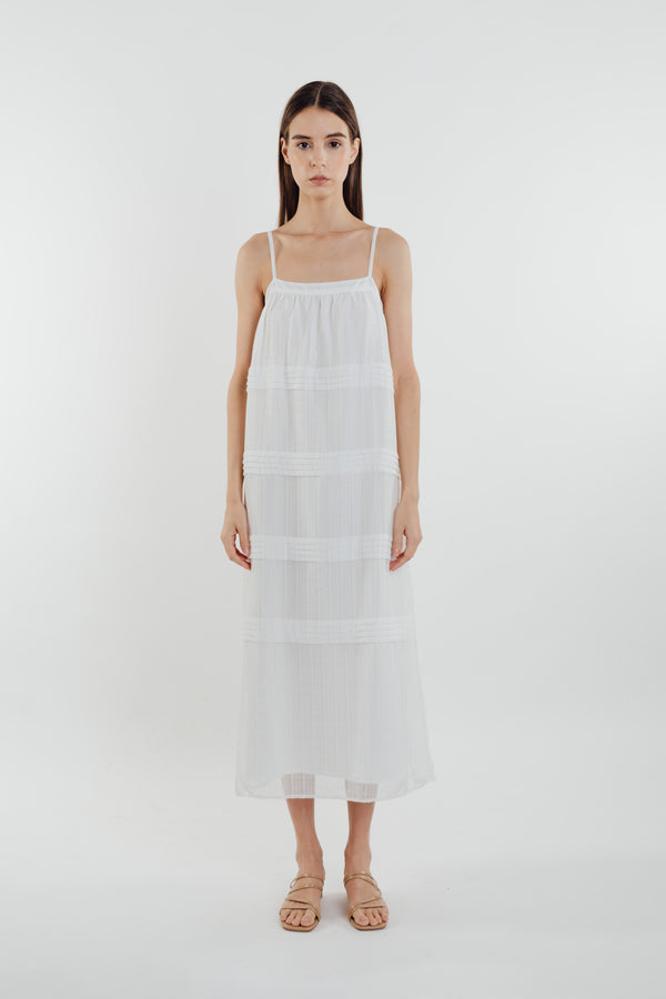 Panelled Midi Dress in White