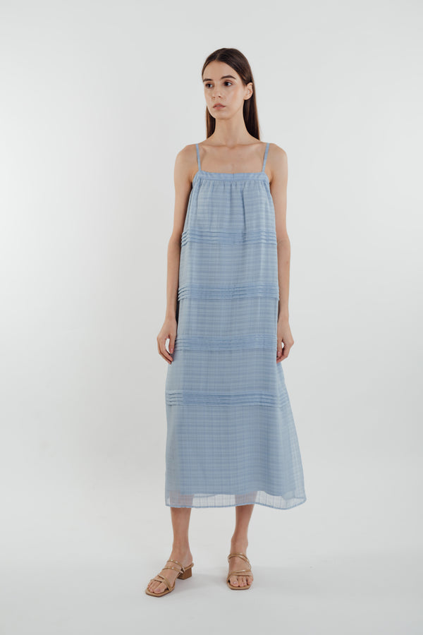 Panelled Midi Dress in Sky