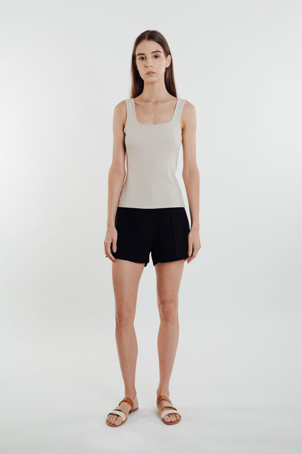 Square Neck Knit Tank in Natural